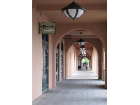 Spanish arches at Liberty Station Marketplace.