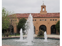 Fountain and Spanish tower.