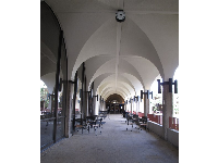 Arched hallway near the Aztec Center and Starbucks.