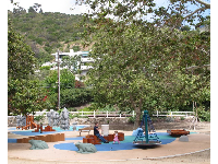 The play area with the mountains behind.