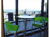 Groovy chairs with a view, inside the Student Center.