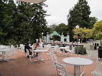 Chairs and tables outside Golden Bear Cafe.