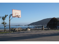 Basketball court with a view- by the playground.