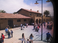 Looking out the window at Santa Barbara Station.