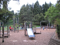 The tall play structure.