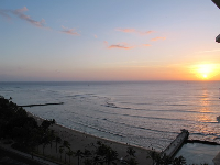 The part of Waikiki Beach called Kuhio Beach lies between two jetties. At sunset it is delicious!