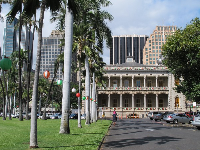 The palace with the skyscrapers of the Central Business District behind.