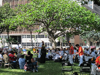 Hula dancer and Royal Hawaiian band. Every Friday at noon.