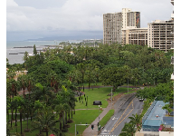 View of the lawns of Fort DeRussy, from Embassy Suites Waikiki Beachwalk.