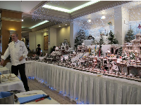 Chef Raif Bauer and his gingerbread village inside the Sheraton Princess Kaiulani Hotel.