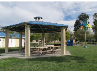 Gazebo with picnic tables.