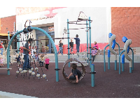 The playground, right by the live music stage, at 706 Lancaster Blvd.
