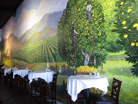 I love the mural of lemon pickers in Lemon Leaf Cafe!