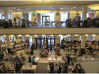 The spacious Barnes and Noble bookstore.