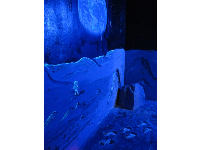 Be immersed in black light in the moon room.