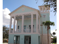 Community Center in Caribbean blue.