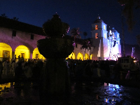 Santa Barbara Mission at night, during Fiesta Pequena.