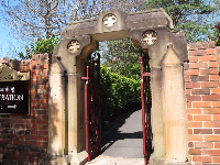 Gate to St Scholastica's College, a beautiful boarding school.