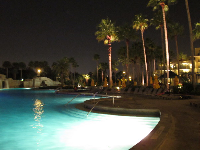 The pool is so inviting at night at the Marriott.