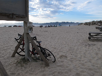 Bikes in the sand.