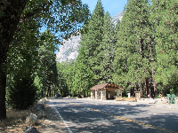 Driving through the valley near Lower Yosemite Falls.