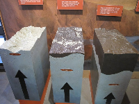 Display about the granites of Yosemite and how they were formed under a tall range of active volcanoes.