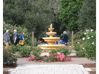 Visitors enjoy the rose garden with its Spanish fountain.