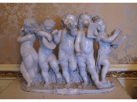 Cherub sculpture in the music room.