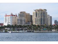 I love these buildings and the row of palms along the West Palm Beach waterfront.