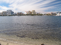 The intracoastal waterway and West Palm Beach across the water.