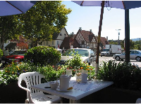 Sit on the patio at Paula's Pancakes and enjoy the pretty views of Solvang around you.