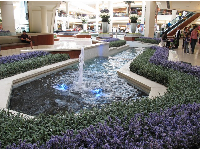 Bubbly fountains and flowers.