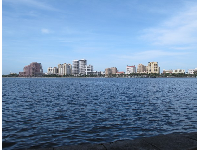 West Palm Beach, across the wide expanse of water.