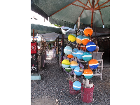 Colored buoys in the shopping area.
