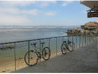 Bikes parked along the railing above McAbee Beach.