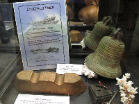 Copper ingot recovered at the 1890 wreck of the steamship Benamain off the coast of Wales.