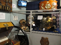Mark V diving helmets, the standard used by the U.S. Navy from 1919 until after WWII.