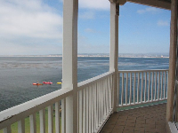 View of Monterey Bay and kayakers from the balcony at Louie Linguine's Restaurant at Cannery Row.