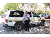 Miami-Dade Venom Response team from Swamp Wars TV show on Animal Planet, parked outside the visitor center!