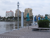 Pier at the end of Clematis Street, on a cloudy January day.