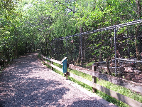 The cages are in the middle of the forest!