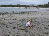 Child playing in the mud by the rock pools.