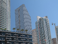Buildings where Brickell Ave crosses the Miami River.