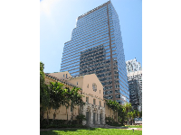 First Presbyterian Church and Bank of America high-rise.