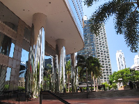 Silver shiny columns at 701 Brickell Ave.