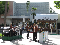 The Blues Brothers play in front of Beverly Hills Boulangerie.