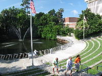Amphitheater and pond.