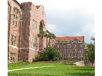 Brick buildings and green lawn.