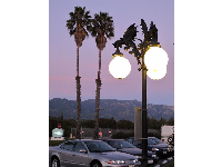 Sunset, California palms, and gothic lampposts.
