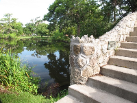 Stone bridge over the bayou.